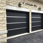 Stainless Steel Strip Modern Garage Doors