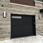 Modern Black Wood Grain Garage Door