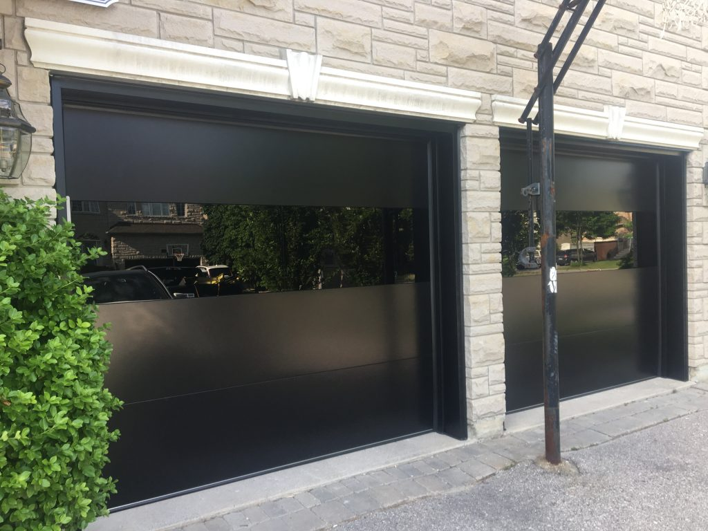 Modern Double Garage Doors Black Glass Modern Doors
