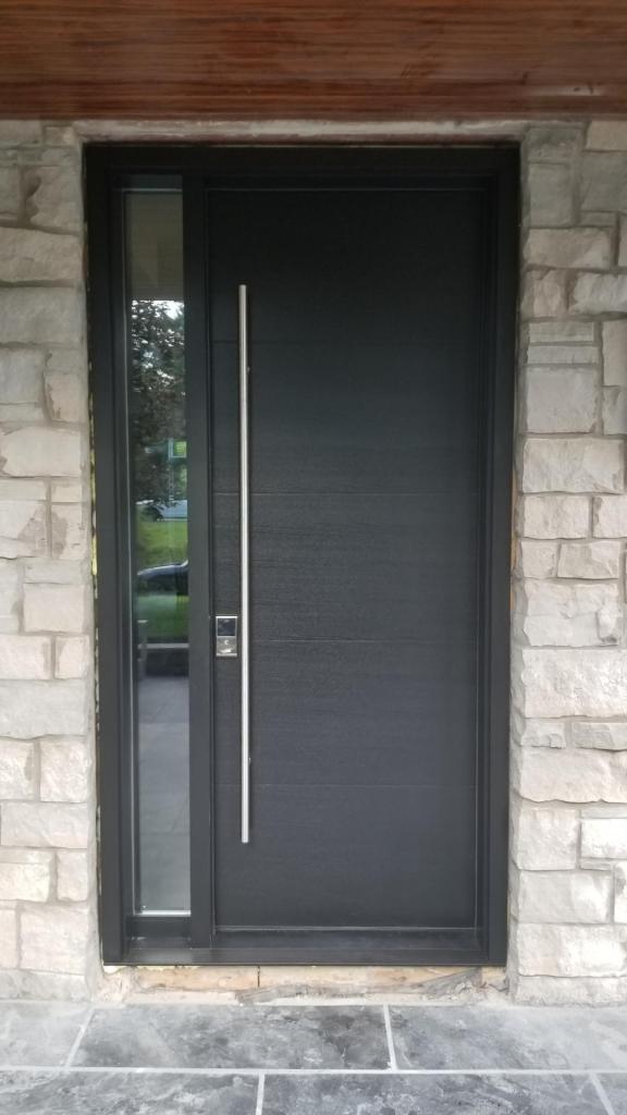Solid Wood Single Front Entry Door Ash Grey Modern Doors