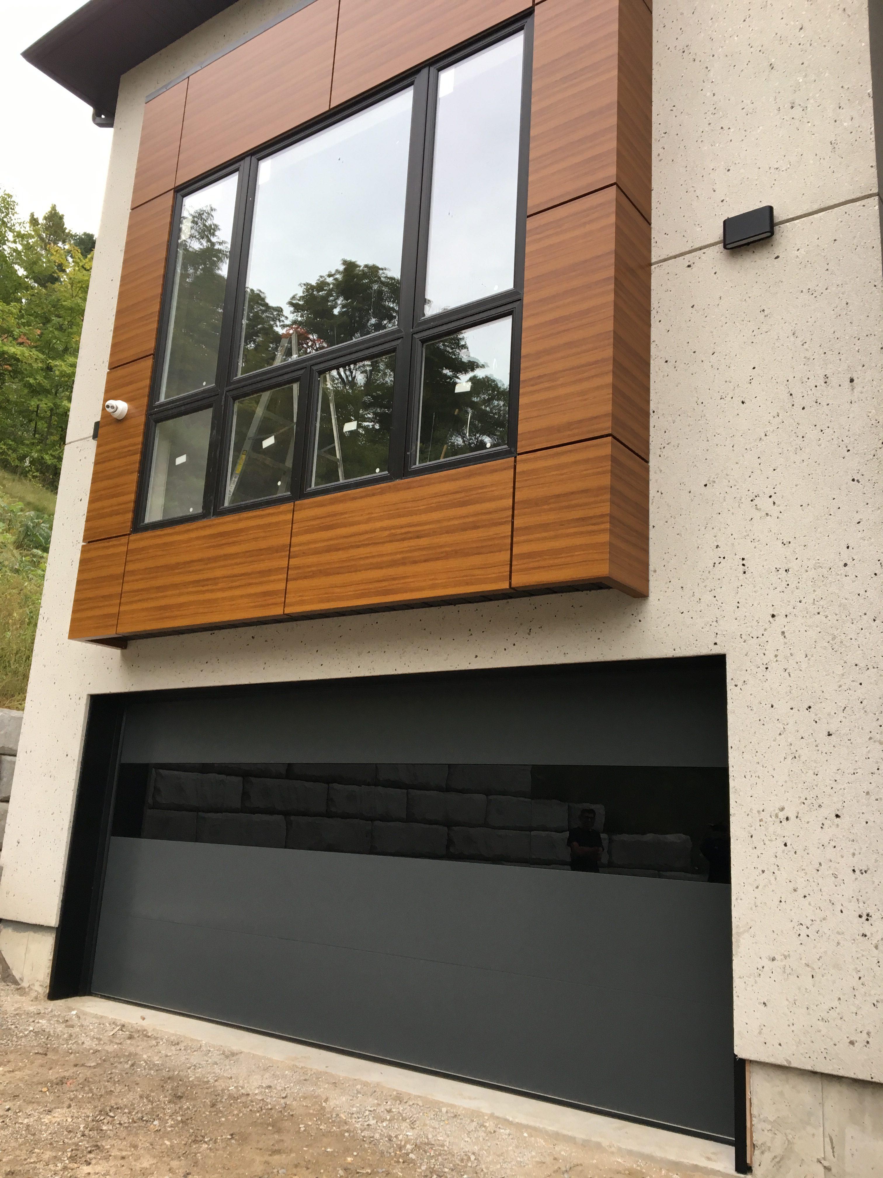 Modern Oversized Black Aluminum Glass Garage Door Modern