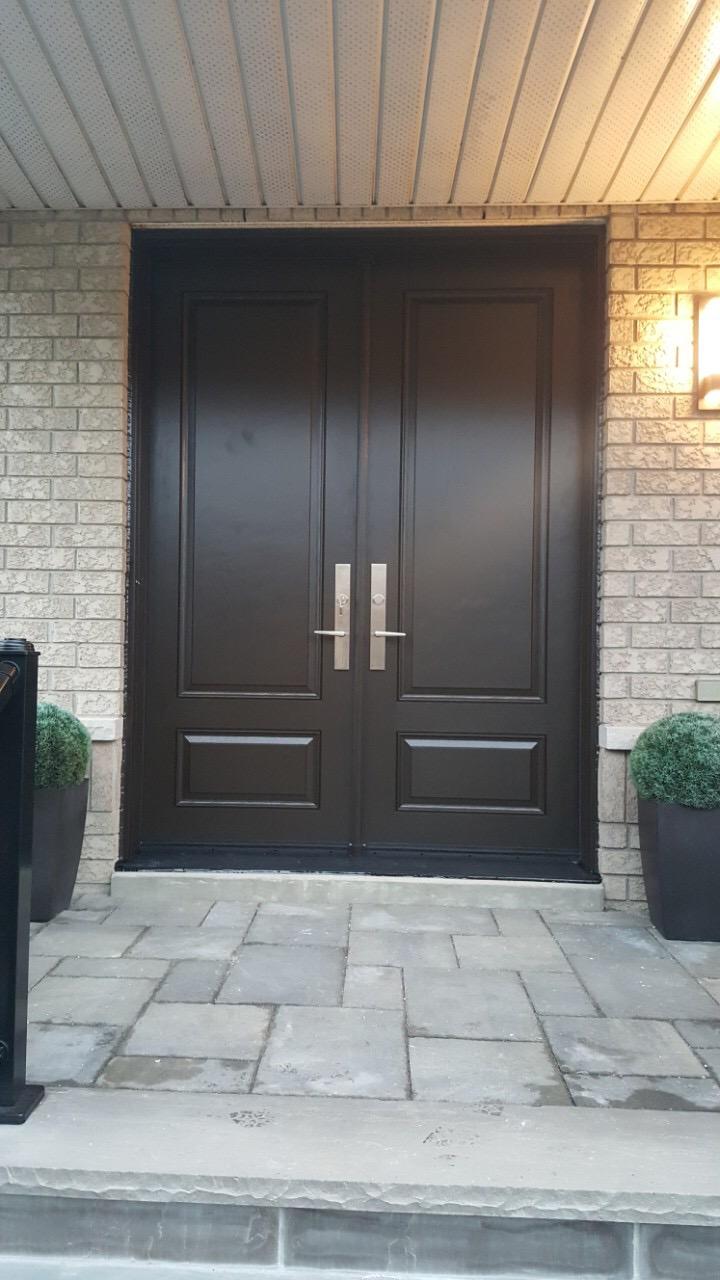 Traditional Fiberglass Double Front Entry Door Modern Doors