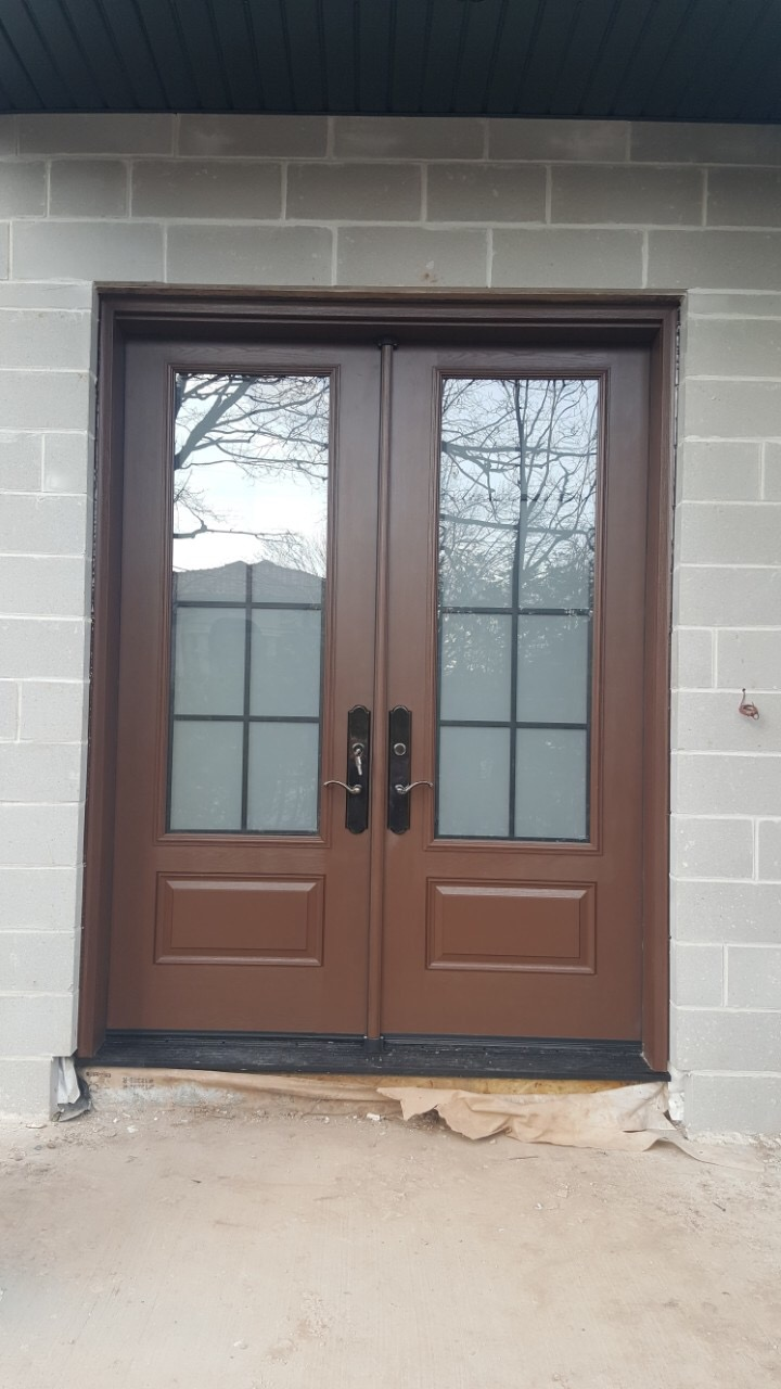 Solid wood double entry door frosted glass insert modern - Solid wood interior doors with glass ...