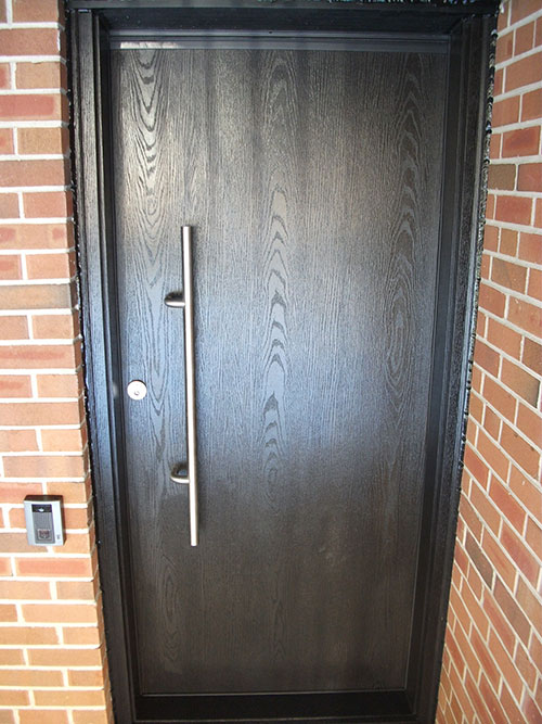 Modern Contemporary Front Entrance Door Woodgrain Single