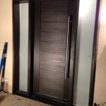 Modern Contemporary Front Entry Fiberglass Door with Multi Point Locks & 2 Frostes Side Lites Installed in Thornhill by modern-doors.ca-Picture#MED131