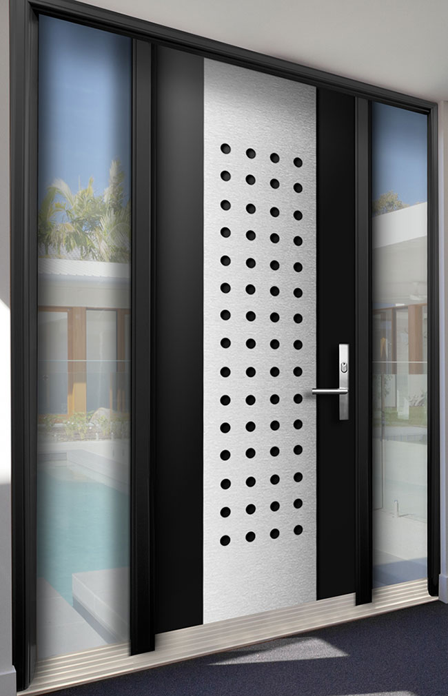 Modern Contemporary Wood Door With Stainless Steel Design