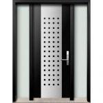 Modern Fiberglass Double Doors with Stainless Steel Designinstalled in Oshava, Ontario, by Modern-doors.caPicture#172