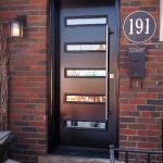 Modern Single Fiberglass Door with Horizontal Stripes Installed in Toronto-Ontario by Modern-doors.ca-Picture #174