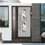 MOdern Front Entry Doors- Fiberglass Smooth Modern Doors with 2 lites and custom design glass installed in Scarborough by Modern-doors