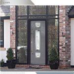 Modern Entrance Door- Fiberglass Modern Door with 3 steel plate lites installed in Thornhill