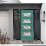 Modern Entrance Door- Fiberglass Modern Door with 4 Horizontal lites installed in Thornhill by modern-doors