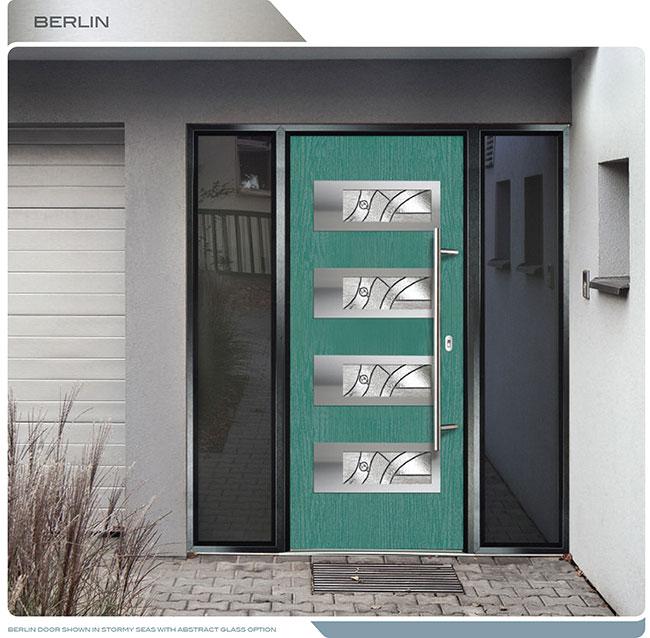Modern Entrance Door Fiberglass Modern Door With 4