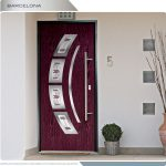 Modern Entry Door- Barcelona design fiberglass door with 4 arch design lites and custom glass installed by modern-doors