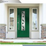 Modern Fiberglass woodgrain Entry Door with Steel plate and lites installed in Newmarket