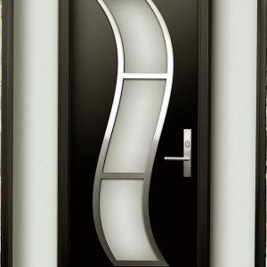 Burlington Modern Doors-Modern Contemporary Door -Modern  Wood Door with Stainless Steel S Design installed in Toronto, Ontario by Modern-doors.ca-Pic#185