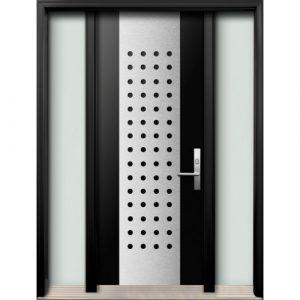 Modern Doors Toronto - Modern Fiberglass Double Doors with Stainless Steel Designinstalled in Oshava, Ontario, by Modern-doors.ca