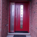 Modern Front Entry Door System with Stainless Steel & Multi Point Lock installed in Kitchener-Ontario
