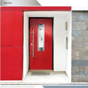 Toronto Modern Doors-Modern Entrance Door-FIberglass Modern Exterior Door with Designed Glass Lite & Multipoint Locks installed in Oakville by modern-doors.ca