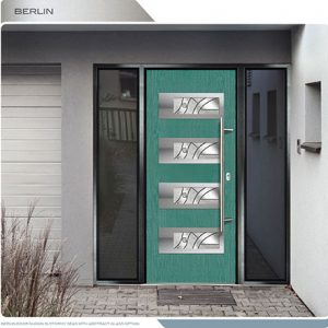 Woodbridge Modern Doors-Modern Entrance Door- Fiberglass Modern Door with 4 Horizontal lites installed in Thornhill by modern-doors