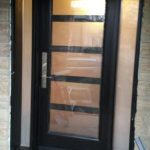Modern Exterior Door with 5 door lites and 2 side lites installed in Richmond Hill, Ontario by modern-doors.ca