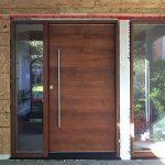 Modern Woodgrain Front Door installed in Missussuaga