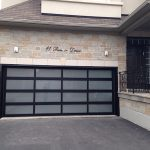 Modern Fiberglass Garage Door with Frosted Door Lites instaled in Oakville