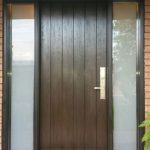 Single Fiberglass Rustic Door with 2 Frosted Side Lites installed in Vaughan by Modern Doors