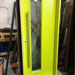 Fiberglass Door-Modern Fiberglass Exterior door with green neon color manufactured by Modern Doors