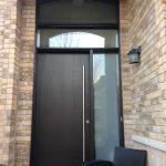 Fiberglass Door-Modern Rustic Woodgrain Fiberglass Door with Frosted Side Lite and Transom Installed in Vaughan