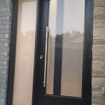 Modern Exterior Fiberglass Laser Cut Door with Frosted SIde Lite and Multi Point Locks installed in Vaughan