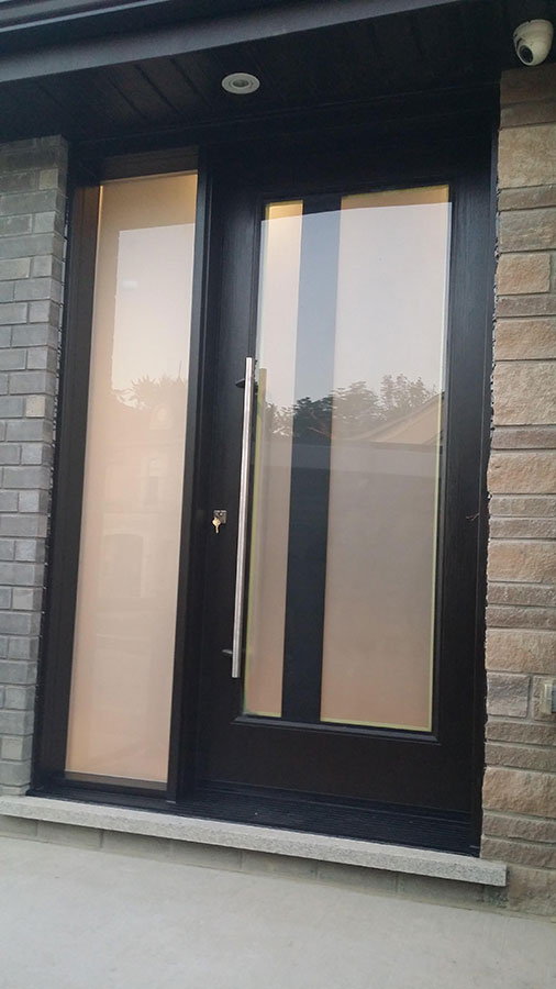 Modern Exterior Fiberglass Laser Cut Door With Frosted
