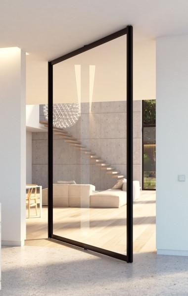 Framed Glass Pivot Interior Door