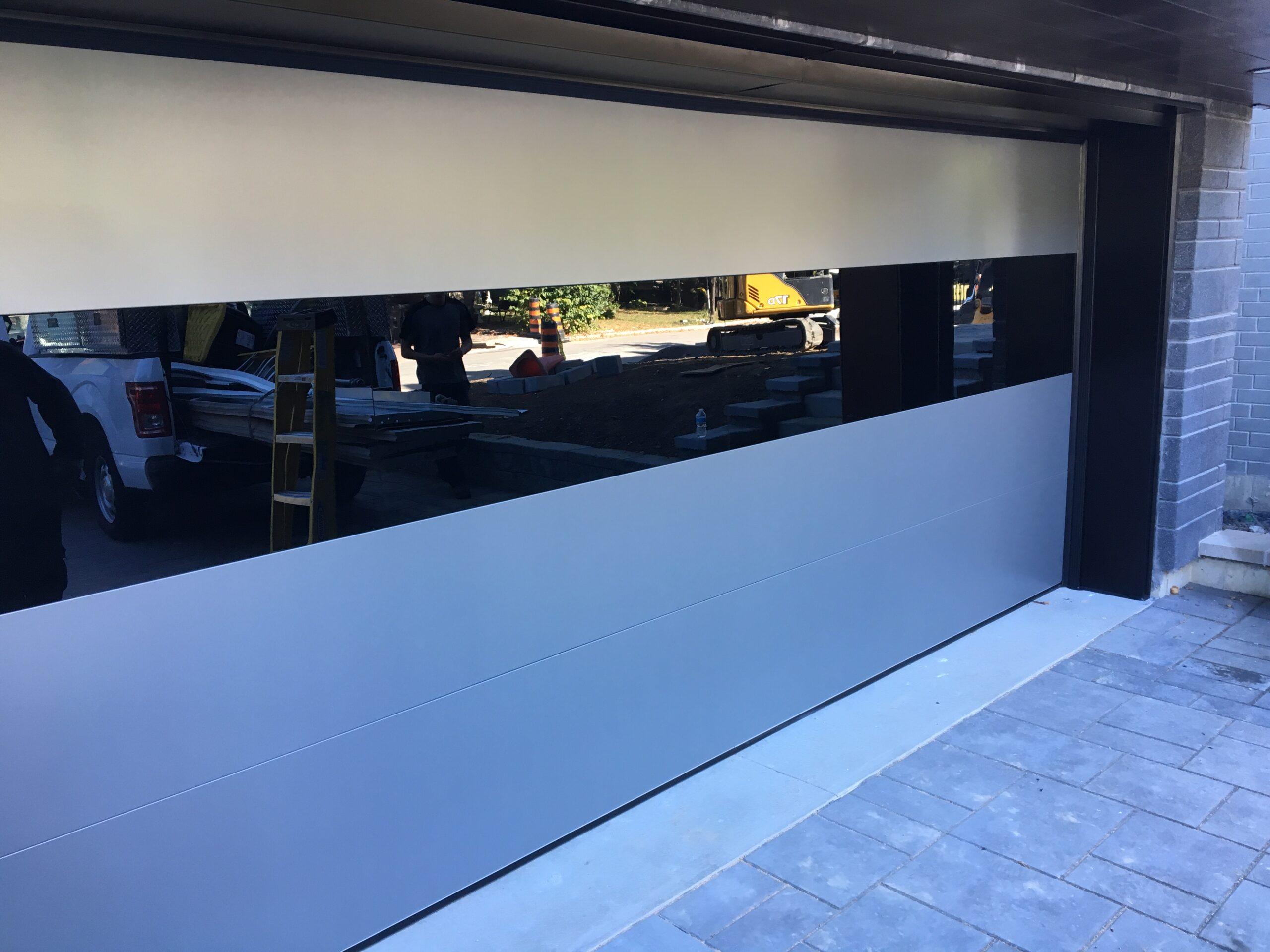 Modern White Glass Garage Door