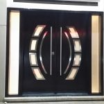 Modern Double Exterior Door Arched Glass Inserts