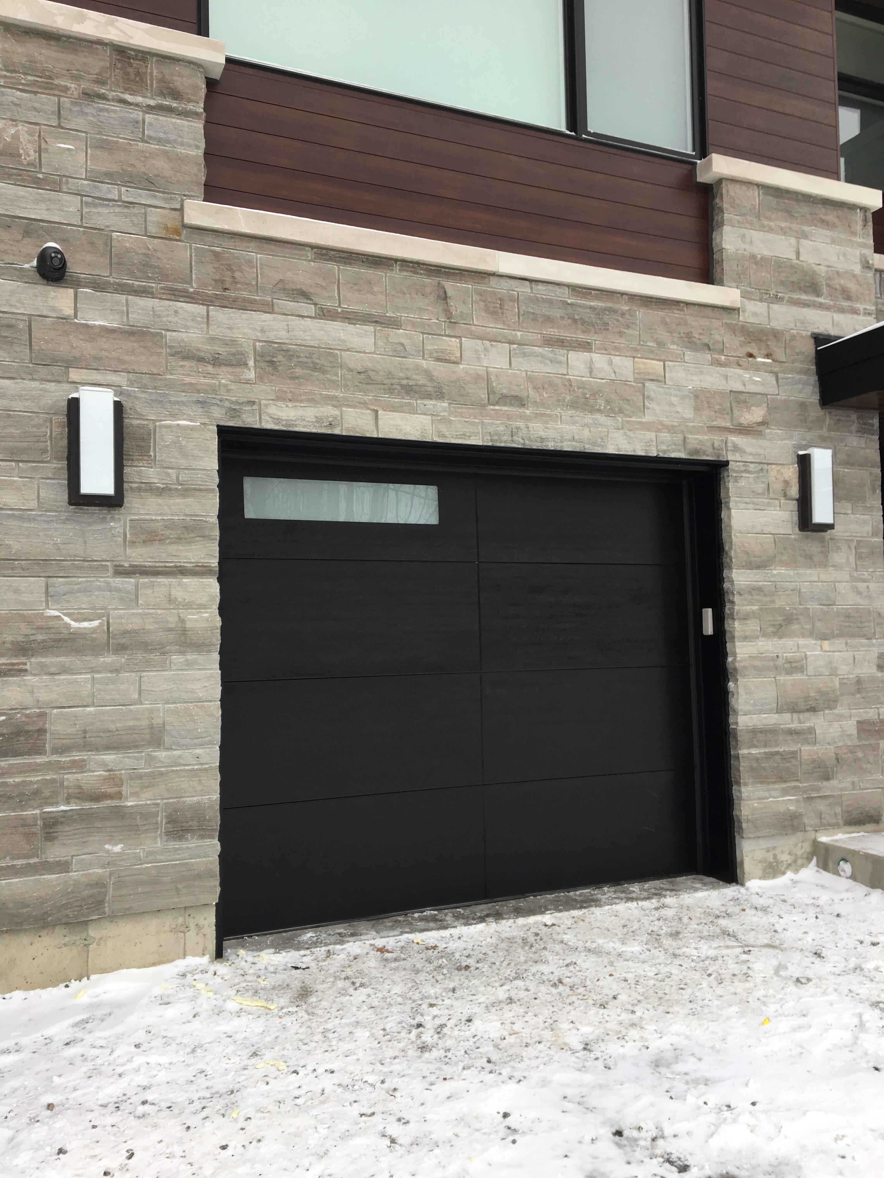 Modern Black Wood Grain Garage Door