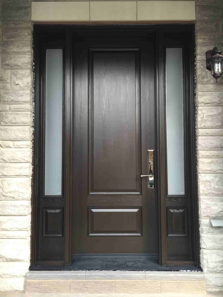 Modern Single Door Frosted Side Lights