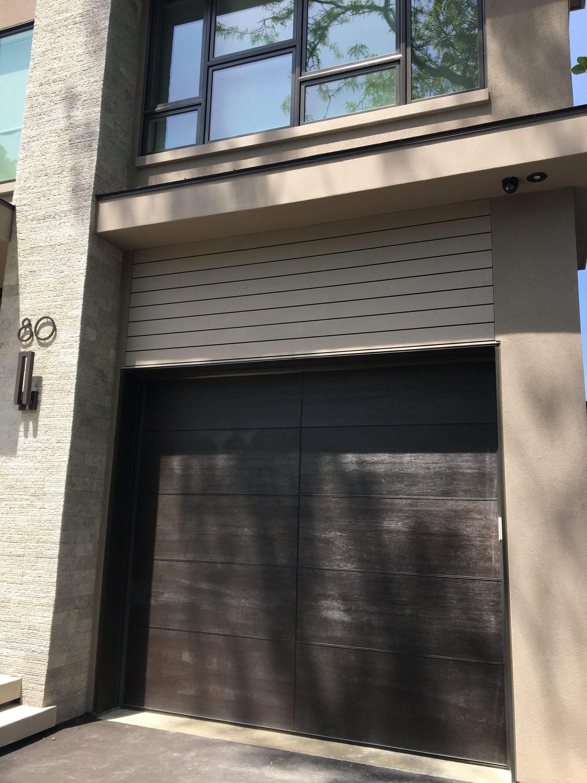 Modern Exterior Wood Grain Garage Door
