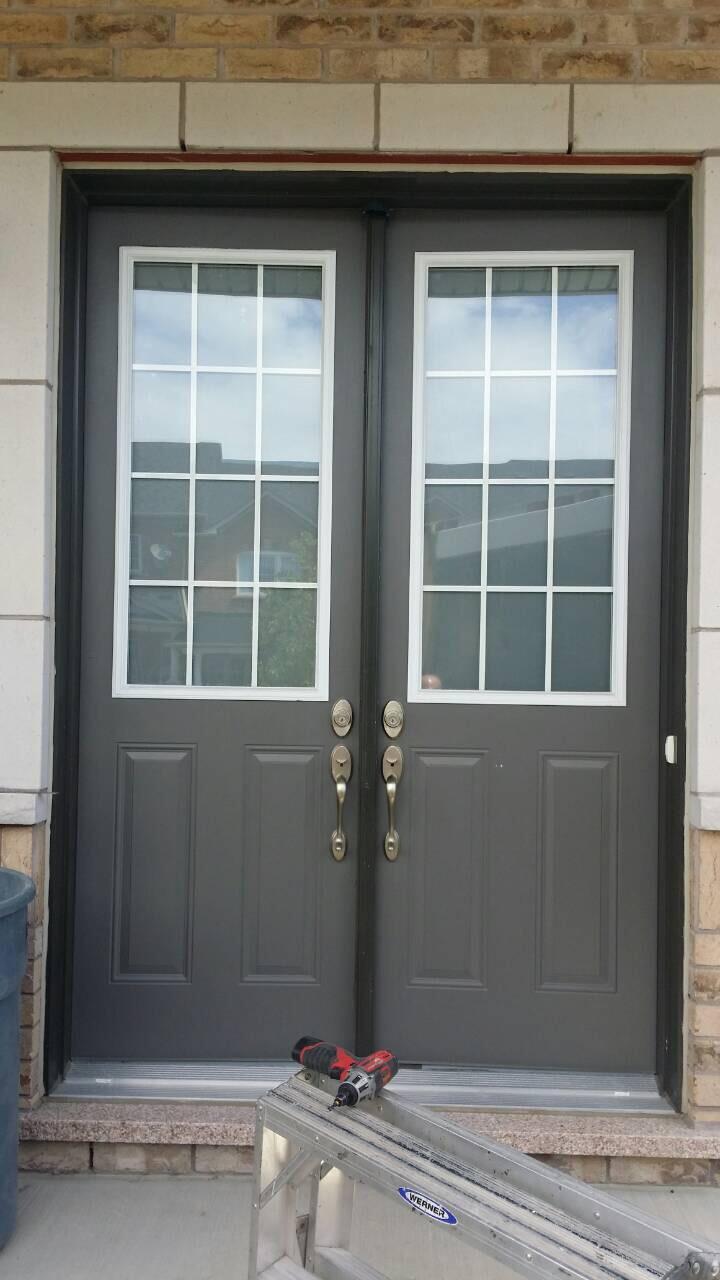 Modern Exterior Entry Door | Horizontal Glass Panels