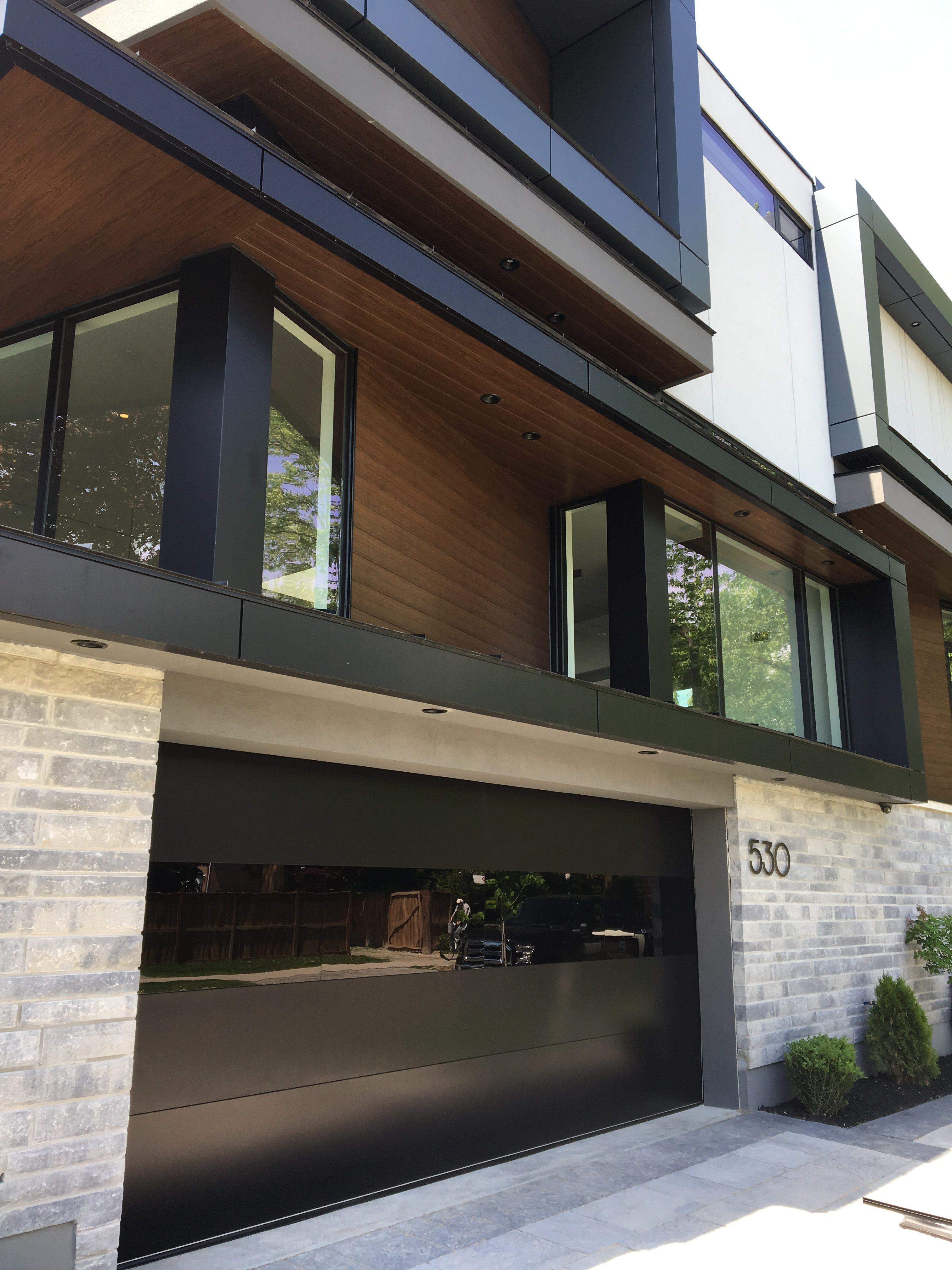 Modern Exterior Black Glass Garage Doors