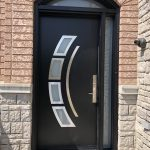 Modern Single Front Entry Door Piano Black