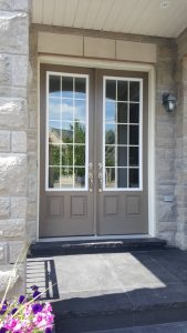Before Single Front Entry Fiberglass Door Clear Glass