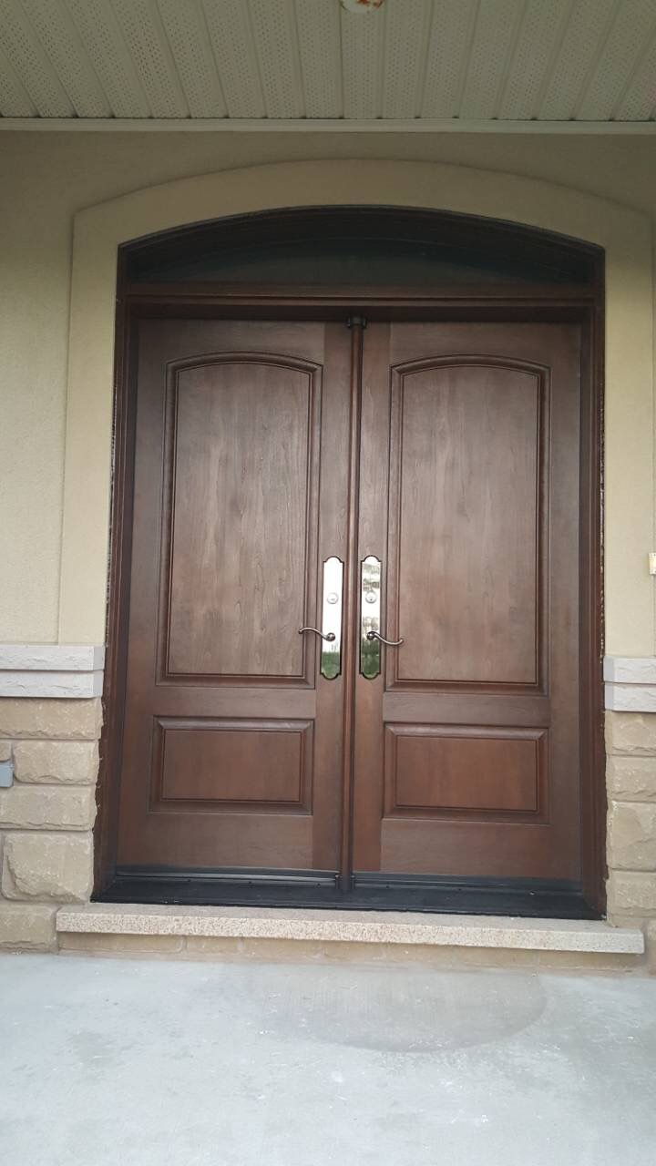Arched Double Entry Door Cherry Stain