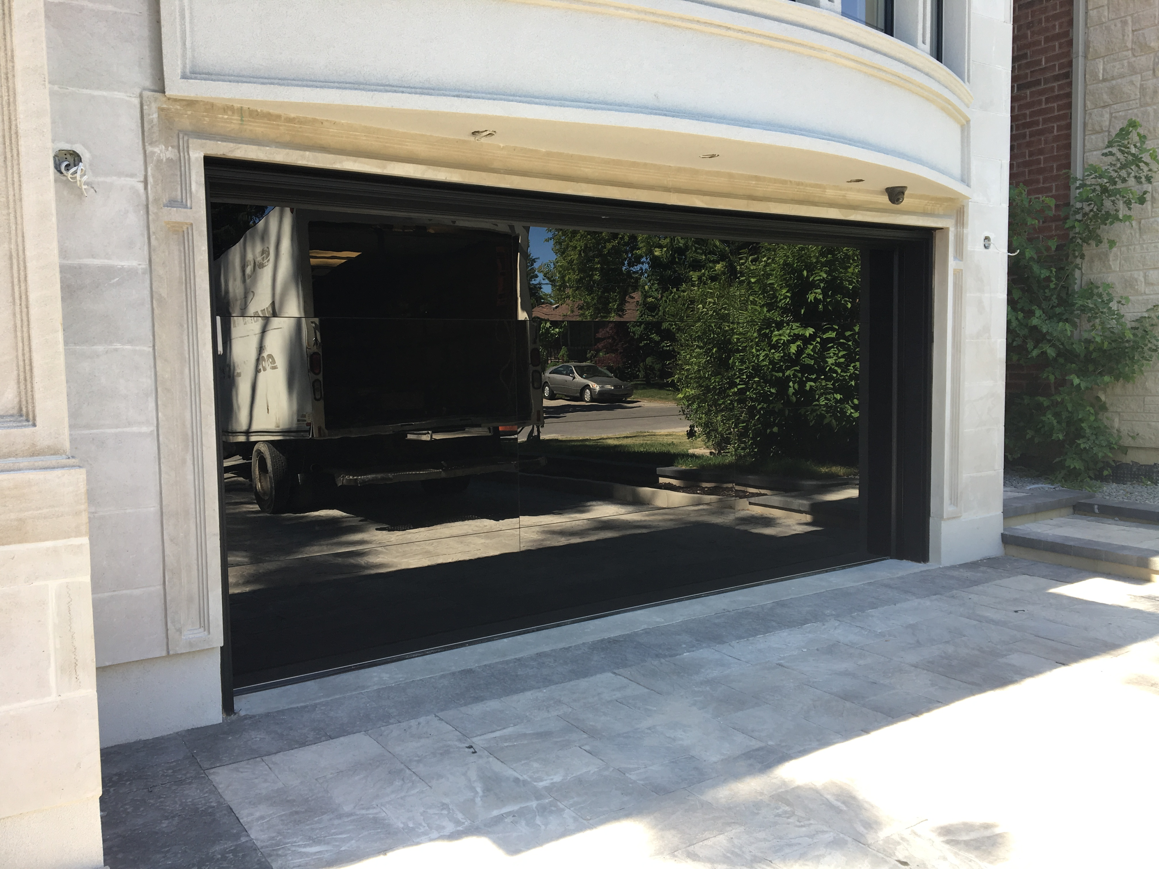 Modern Black Glass Garage Door
