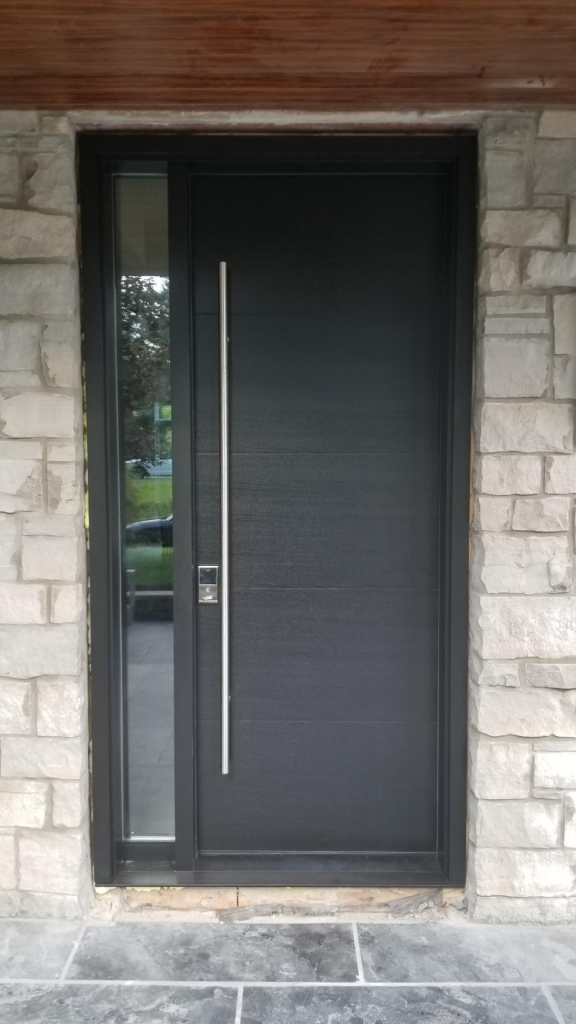 Solid Wood Single Front Entry Door Ash Grey