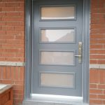 Modern Grey Fiberglass Entry Door