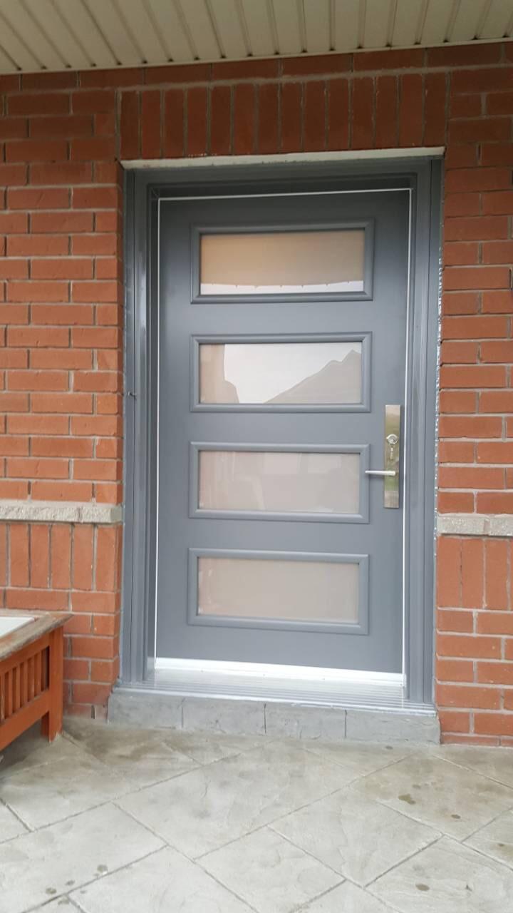 Modern Grey Fiberglass Entry Door