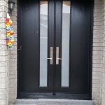 Modern Front Entry Double Door Frosted Glass