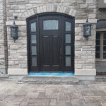 Solid Wood Arched Single Entry Door Frosted Glass