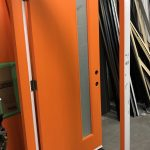 Orange Single Front Entry Fiberglass Door Orange