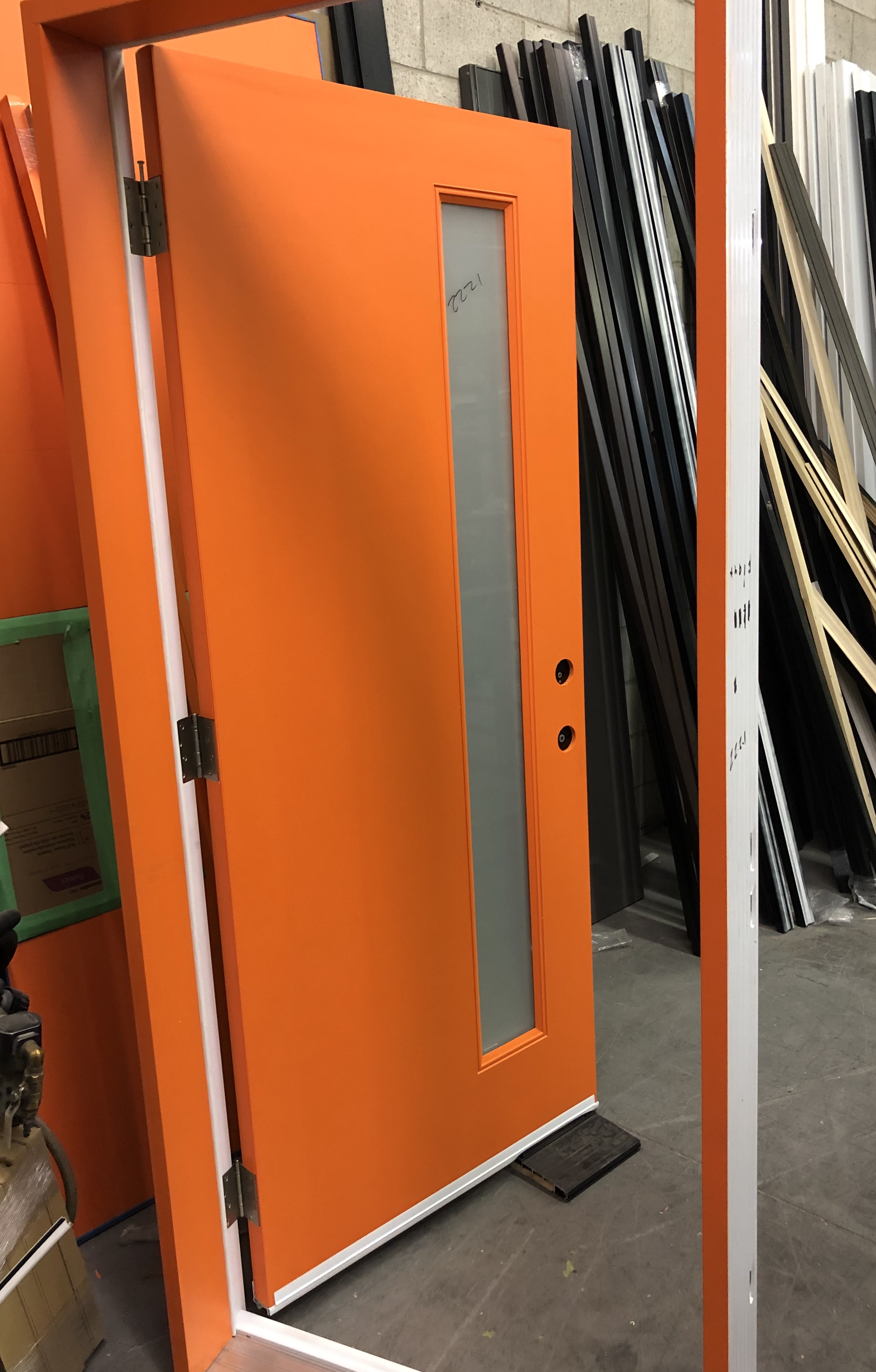 Rustic Fiberglass Modern Entry Doors With Stainless Steel
